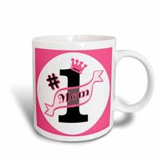 3dRose Number One Mom Pink, Ceramic Mug, 11-ounce