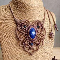 Macrame Necklace Pendant Cabochon Lapis Lazuli Cotton Waxed Cord Handmade