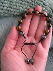 NEW NATURAL GOLDEN TIGER EYE MALA STYLE WOVEN BRACELET W/MAGNETIC HEMATITE