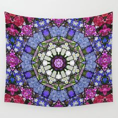 Garden mosaic mandala wall tapestry, blue, rose tones, garden flowers kaleidoscope, home decor, wall hanging, living room, bedroom decor by RVJamesDesigns on Etsy