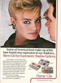 1984 Flame Glo Ad (LOL, like any makeup artist would use the stupid tiny plastic applicator the eyeshadow comes with!!)
