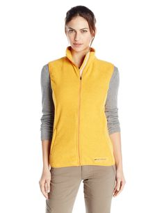 Hot Chillys Women's Baja Zip Vest with Binding, Medium, Sunrise. Machine wash cold. Moisture Wicking Fibers. Eco-friendly: 50% recycled polyester. Lofty brushed face with anti-pill finish. Mountain-to-Beach fleece designed for whatever environment you find yourself in.