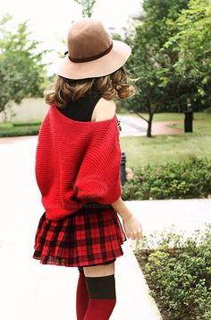 Fall Style | Loose fit, Dolman Sleeves, scoop neck - Red Sweater  - tartan skirt accent.     dresslily.com