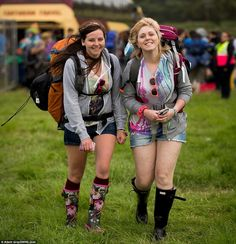 Fresh off the coach: Fiona Frew, and Vicky Green, also make their way towards an entrance after their bus journey to Pilton Sophie Gray, Hunter Wellies, British Garden, Dolly Parton, Rain Wear, Somerset, Heavy Metal, Rain Boots, Jackson