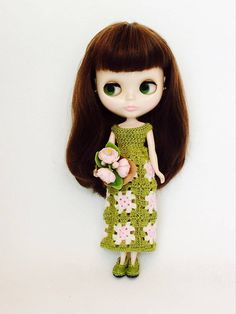 Dresses Summer Olive Granny Square crochet for Blythe Pullip