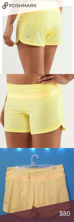 Lululemon Groovy Running Shorts Yellow Size 8 Excellent Condition lululemon athletica Shorts Skorts