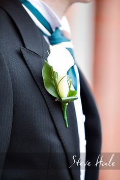 Beautiful image from steve hale photography of a calla lily buttonhole. www.weddingflowersbylaura.com