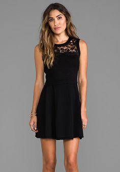SHOSHANNA Lace Yoke Sweater Dress in Black - New