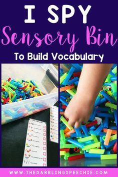 """I spy"" sensory bin is perfect for building language with understanding of categories, describing items by attributes and using them in grammar."