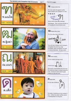 Thai Alphabet 5 Visual Aid to assist memory