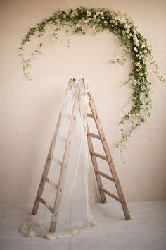 Vintage ladder and oversized garland