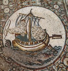 Depictions of fish and fishermen, popular symbols in Christian art, can be found in the colorful floor mosaics at the 6th cent. basilica at Horvat Beit Loya, Israel. The mosaics were damaged by iconoclasts in the 8th cent. - khirbet-beit-lei-mosaic