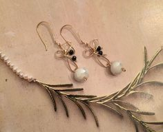 Cute ribbon dangling earrings handmade with by HoneyMoonNYC