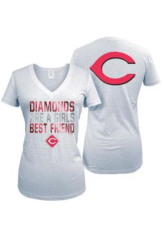 "Cincinnati Reds Womens White ""Diamonds are a girls best friend"" shirt http://www.rallyhouse.com/shop/cincinnati-reds-5th-and-ocean-88880055 $29.99"