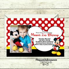 Mickey Mouse Birthday Invitation - Customized Printable Digital File - Any Age Mickey Mouse - Mickey Mouse Theme Party - 1st 2nd 3rd 4th 5th
