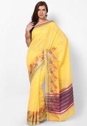 Yellow  Silk Blend Saree