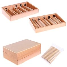 NNDA CO Montessori Wooden Spindle Box 45 Spindles Mathematics Counting Educational Toy Montessori Math, Learn To Count, Baby Education, Arithmetic, Kindergarten Activities, Wood Colors, Educational Toys, Wooden Boxes, Mathematics