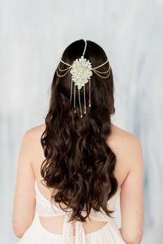 Gold Hair Chain, Draped Chain Headpiece, Gold Headpiece, Crystal Headband, Bohemian Headpiece, Gold Hair Accessory, Gold Crown,…