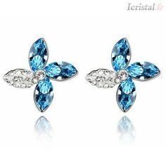 Boucles d'oreilles plaquées or blanc 18 carats par SWAROVSKI ELEMENTS bleu de mer et blanc