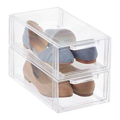 My personal favorite way to to store shoes. Pinned from The Container Store, $8.99 per drawer. #organizing #shoes #organized