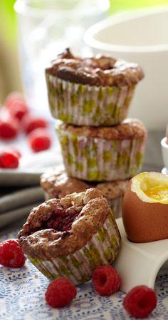 Opskrift på æble-hindbærmuffins