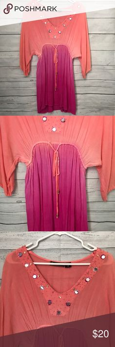 Dip dyed summer coverup Pink and orange dip dyed summer swimsuit coverup siZe medium. Never been worn. Has beads and sequins around neckline. Offers welcome no trades. Swim Coverups