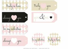 Beautiful free Valentine gift tags and muffin topper. #gifttags #prettypackaging #valentines