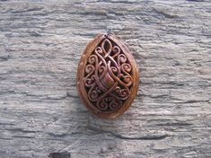 Tendril Design Fretwork Apricot Pit Pendant Unique Hand