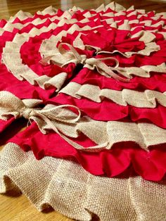 Red and burlap ruffle tree skirt! #TTAA #SupportTradition #TexasTech