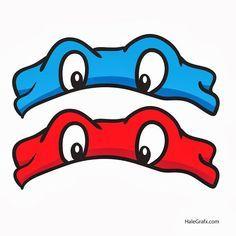 """""""Teeanage Mutant Ninja Turtles"""" free printable masks:  Leonardo (blue) and Raphael (red)."""
