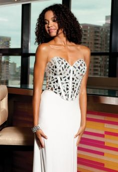 White Dresses - Mirror Beaded Jersey Prom Dress from Camille La Vie and Group USA