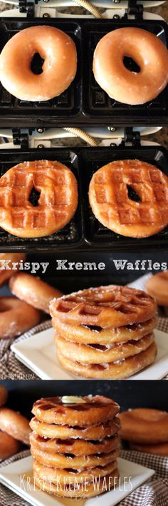 Krispy Kreme donut waffles (: looks easy to make and delicious to eat