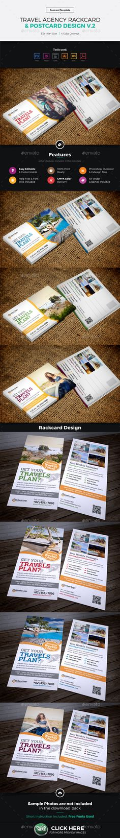 Travel Postcard Rackcard DL Flyer Design Template PSD, Vector EPS, InDesign INDD, AI Illustrator