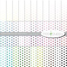 Digital Paper - Rainbow Ombre Polka Dot Medium White -- INSTANT DOWNLOAD