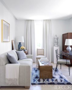 Neutral living room with blue hues and rug