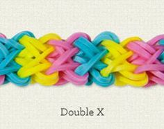 Double X - Michaels' website has lots of Rainbow Loom Pattern How-To's.