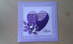 Iris folding card Iris Folding Templates, Iris Paper Folding, Paper Folding Crafts, Iris Folding Pattern, Paper Crafts, Pinwheel Quilt, Heart Cards, Valentine Day Cards, Folded Cards