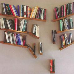 Cascading Bookshelf... this would either make me crazy, or I'd love it. Just not sure which....