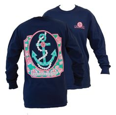 Southern Couture Preppy Pearl Anchor Floral Comfort Colors Navy Girlie Long Sleeve Bright T Shirt