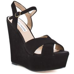 STEVE MADDEN : WESTII - BLACK SUEDE. God I would love to have a closet full of Steve Madden shoes.
