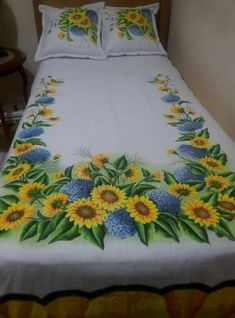 Bead Embroidery Patterns, Beaded Embroidery, Color Mixing Chart Acrylic, Bed Sheet Painting Design, Bed Cover Design, Designer Bed Sheets, Hand Painted Sarees, Sunflower Quilts, Bed Slats