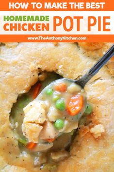 Chicken Pot Pie How to make a perfect chicken pot pie with real ingredients and no cans, and the best chicken pot pie crust recipe! via to make a perfect chicken pot pie with real ingredients and no cans, and the best chicken pot pie crust recipe! Chicken Pot Pie Crust, Chicken Pot Pie Casserole, Best Chicken Pot Pie, Perfect Chicken, Chicken Gravy, Chicken Pop Pie, Healthy Chicken Pot Pie, Noodle Casserole, Casserole Dishes