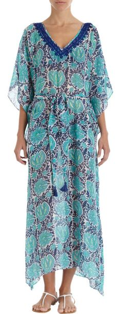 Alberto Makali Floral-Print Caftan W/Drawstring, Peach/Multi, Women's, Size: S, Blue Long Kaftan Dress, Nice Dresses, Dresses With Sleeves, Embellished Top, 1 Piece, Ideias Fashion, Floral Prints, Cold Shoulder Dress, India