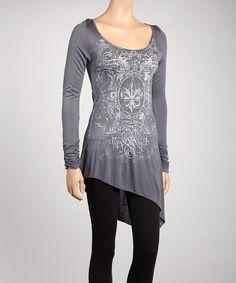 Take a look at this Urban X Gray Fleur-de-Lis Asymmetrical-Hem Tunic on zulily today!
