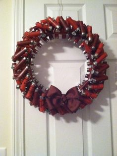 Here is my version of the shotgun shell wreath! :)