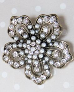 So reasonably priced - Stunning Vintage Faux Pearl and Rhinestone Flower by CuriousCris, £14.00
