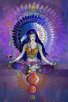 Cosmic Sparrow Idk what this is but its a pretty pic Meditation Art, Yoga Art, Mandala Art, Art Chakra, Sacral Chakra, Chakra Healing, Art Visionnaire, Yoga Studio Design, Cosmic Art