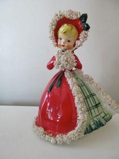 Vintage Napco Spaghetti Figurine Christmas Shopper in Petticoat Hat Nice | eBay