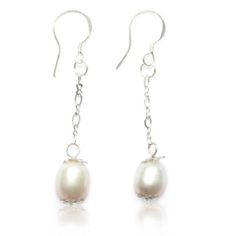 Freshwater Pearl with Sterling Silver Hooks Handmade by a rescued lady in Asia PLEASE NOTE THAT ALL SALE ITEMS ARE SENT IN A POUCH (GIFT BOXES ARE UNAVAILABLE).