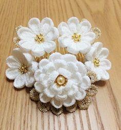 Kanzashi Flowers, Hair Ornaments, Crochet Jewellery, Drawings, Wedding, Beautiful, Knitting, Jewelry, Decor